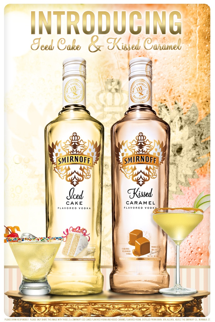 Introducing the newest sweet and sultry Smirnoff flavors – Iced Cake and Kissed Caramel! Repin if you want to try them both!