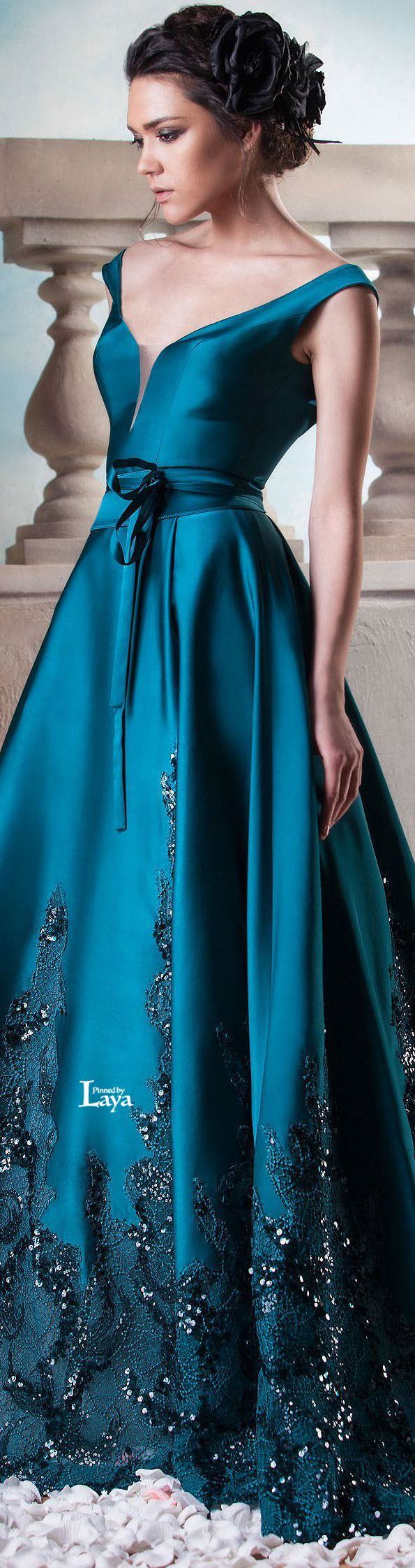 Hanna Touma ~  Couture Summer Teal Satin Flared Skirt Gown 2015