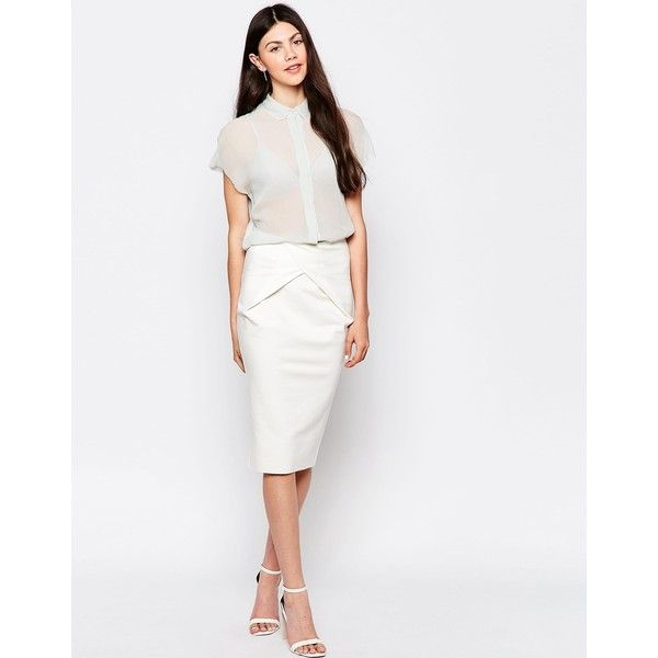 By Zoe Pencil Skirt with Knot Front ($37) ❤ liked on Polyvore featuring skirts, ecru, high waist knee length pencil skirt, cotton pencil skirt, white pencil skirt, white high waisted skirt and white stretch skirt
