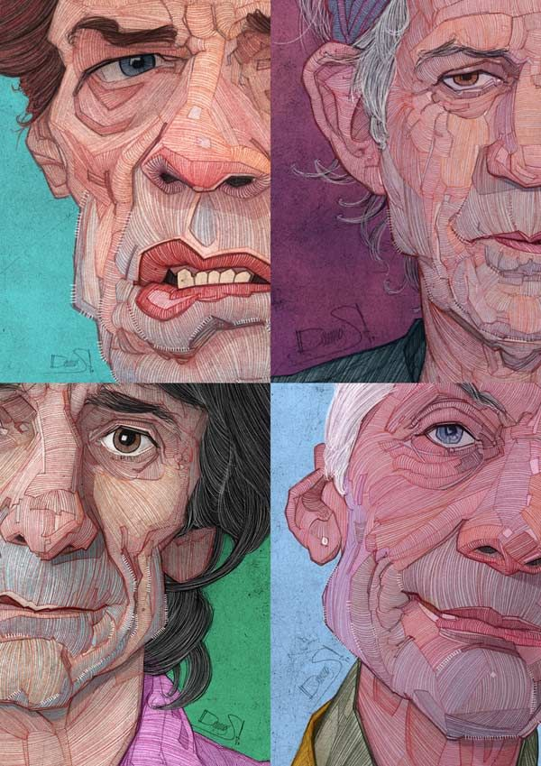 The Rolling Stones illustrations by Stavros Damos - The legendary British rock band consisting of frontman and singer Mick Jagger, Keith Richards (guitar), Ron Wood (guitar), and Charlie Watts (drums).