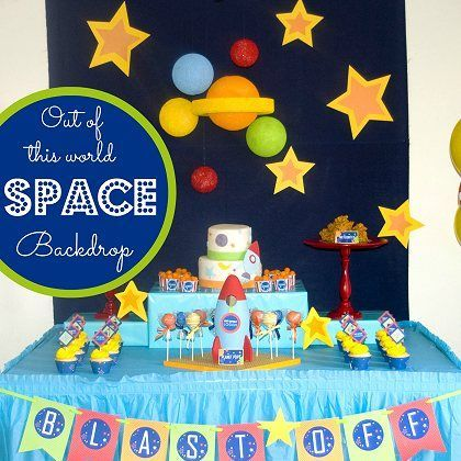 To infinity & beyond! Super Cool Outer Space Backdrop for your baby's space-themed 1st birthday party