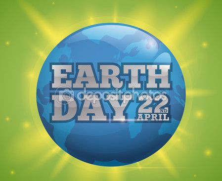 Earth Day Celebration Design with Blue World and Glows