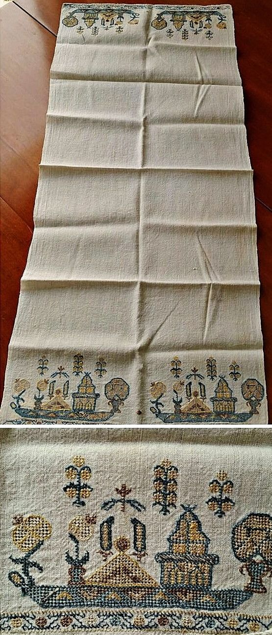 Late-Ottoman embroidered 'makrama' (napkin), 19th century.  Featuring small ships.  Silk embroidery on linen.