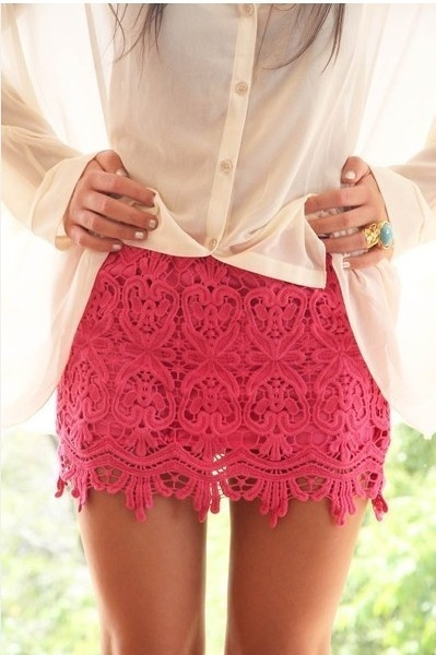 Love: In Love, Hotpink, Pink Skirts, Pink Lace Skirts, Hot Pink, Love Lace, Crochet Skirts, Pinklace, Cute Skirts