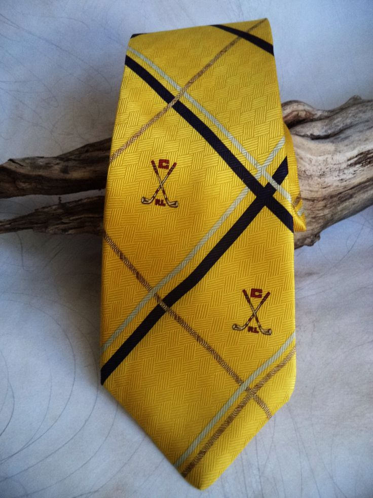 90s CHAPS golf tie Ralph Lauren Bright jeweled Gold RL logo golf clubs Silk Woven Classic Striped Mens Prep Sports Necktie Mens accessories by MushkaVintage3 on Etsy