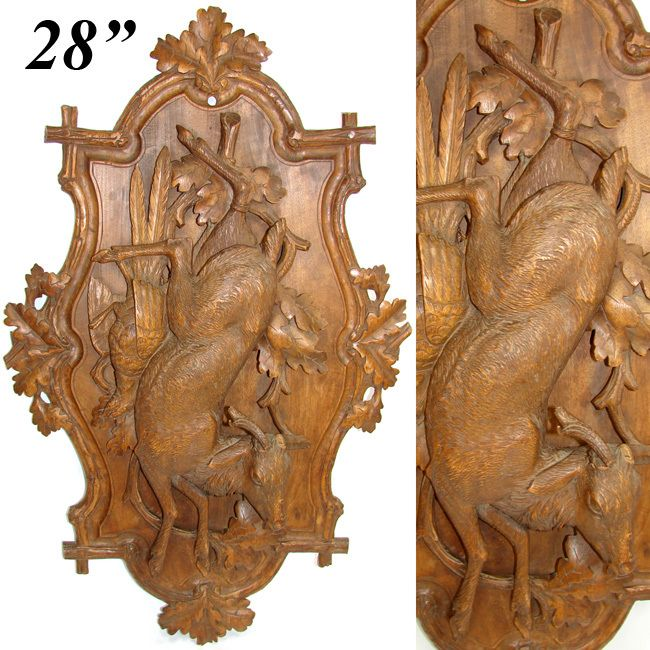 "LG Antique Victorian Black Forest Carved Wood 28"" Wall Plaque, ""Fruits of the Hunt"" Motif with Deer & Scissor-tail Bird"