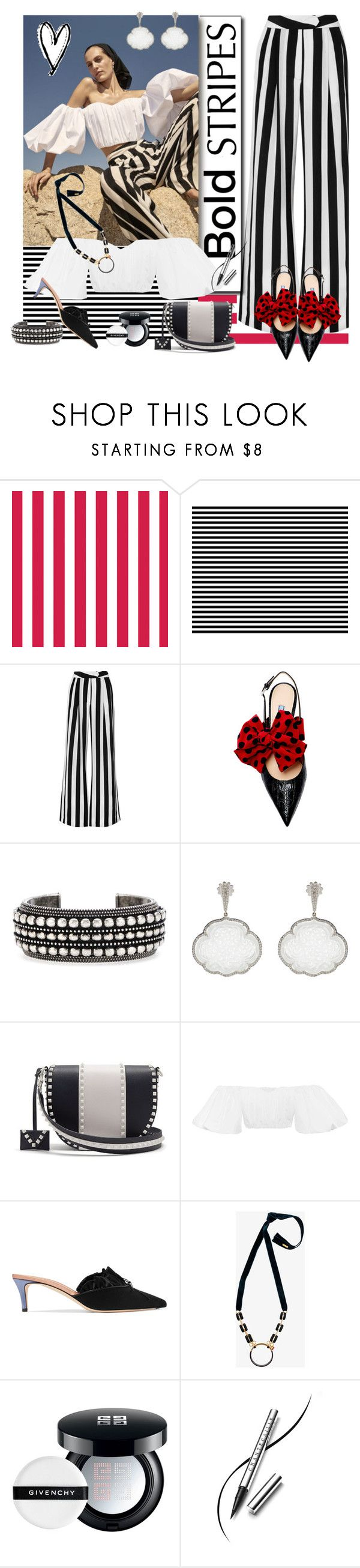 """""""Bold Stripes"""" by sylandrya ❤ liked on Polyvore featuring Michelle Mason, Yves Saint Laurent, Inbar, Valentino, E L L E R Y, Marni, Givenchy and Chantecaille"""
