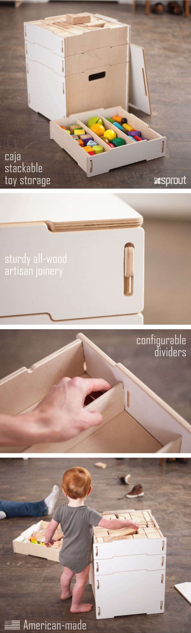Organize to your heart's content with this stacking crate set. Kids toys, books, blankets, and other tangibles find a fun classy home in these wooden storage boxes. Learn more about the art and craft storage boxes at Sprout.