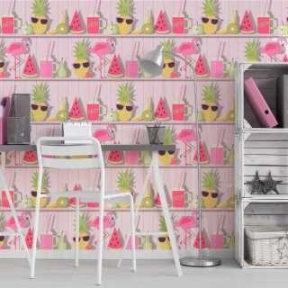 Fine Decor Tropical Shelves Pink Wallpaper – FD42212