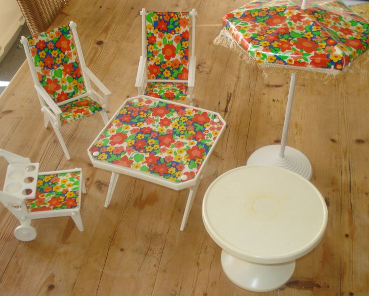 Vintage patio set, '70s, Sindy, Barbie, garden set, doll set, door MyVintageAndMore op Etsy