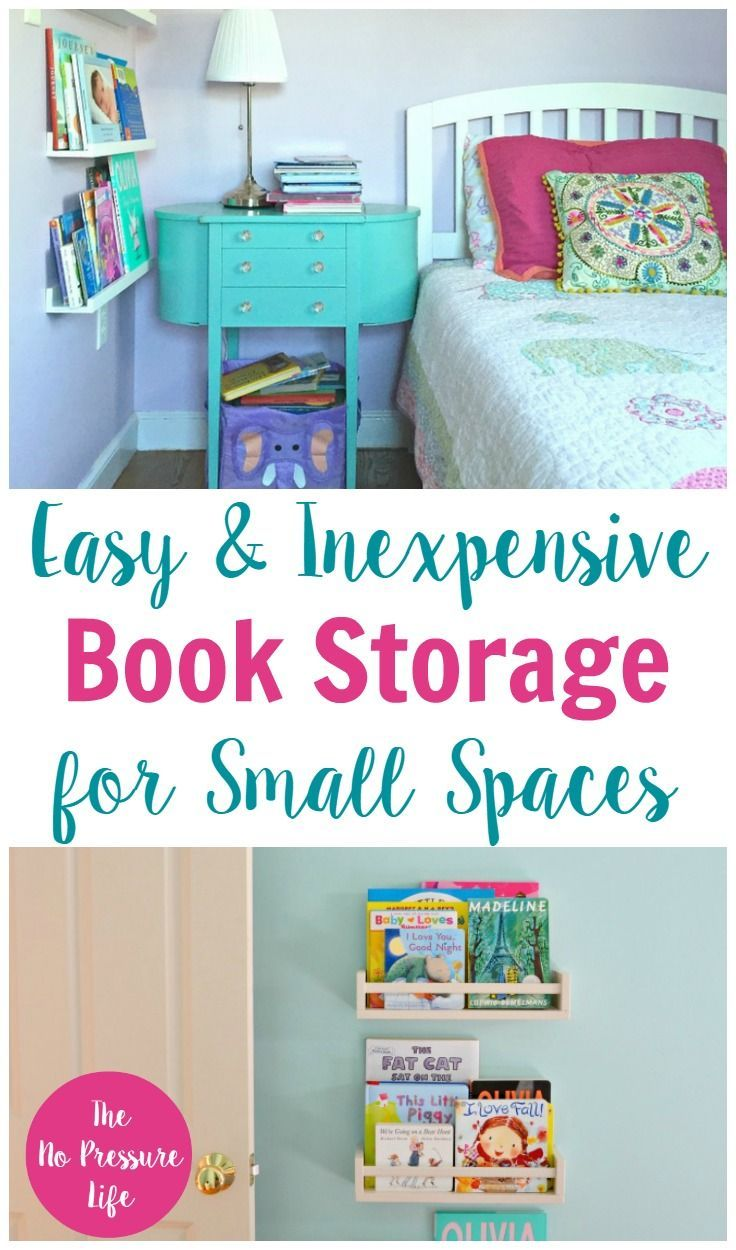 These Small Space Book Storage Ideas Are Great For Your Tiny Bedroom Nurseries A Book Storage Small Space Kids Bedroom Storage Bedroom Storage For Small Rooms