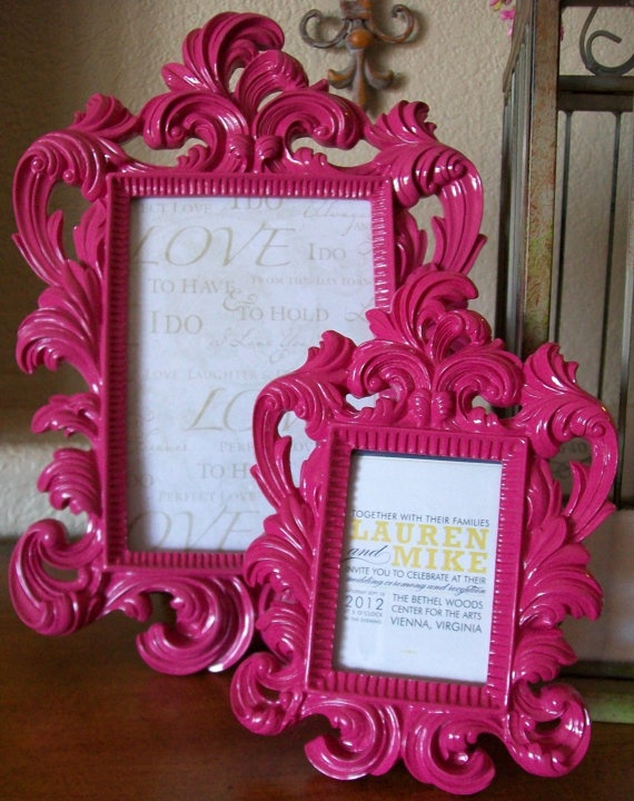 Smaller pre-done version of the IKEA frame for office wall $25.00 + shipping http://www.etsy.com/listing/82879679/hot-pink-gloss-medium-baroque-ornate?utm_source=googleproduct&utm_medium=syndication&utm_campaign=GPS