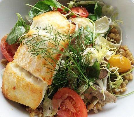 Line Caught Halibut Salad: watercress, wheat berries, fennel, mushrooms, goat cheese, green peppercorn, spiced nuts and citrus vinaigrette | New Menu Item | Menu Launch | Pier 73 | YVR
