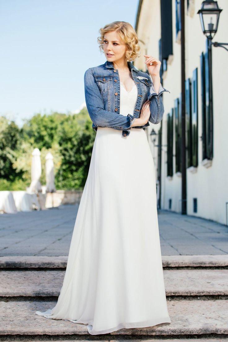 Hochzeit Kleid Jeansjacke Modische Damenkleider