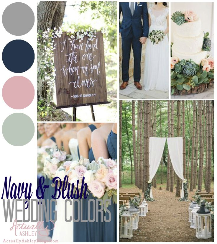 Check out this navy blue and blush wedding color scheme, accented with mint, linen and grey, over on Actually Ashley Blogs