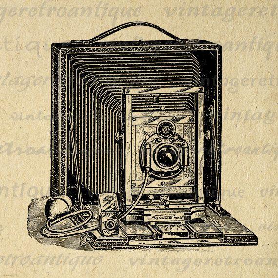 Digital Image Old Fashioned Camera Graphic Vintage Illustration Download Printable Artwork Antique Clip Art Jpg Png 18x18 HQ 300dpi No.1532 @ vintageretroantique.etsy.com #DigitalArt #Printable #Art #VintageRetroAntique #Digital #Clipart #Download