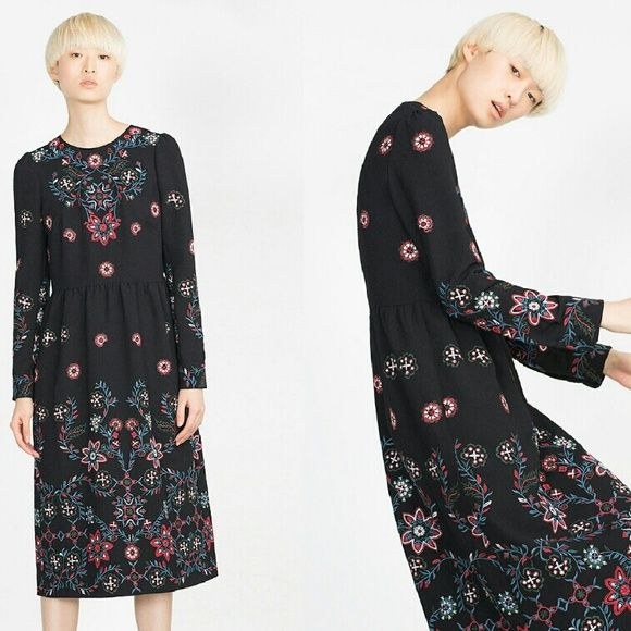 Midi Length embroidered dress Long sleeve dress with floral design embroidery...... 100% polyester.... Good fit for size 4 Zara Dresses Midi