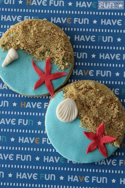 Galletas de playa con tutorial PAP Beach cookies, with a step by step tutorial