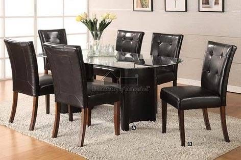 Contemporary Dining Table W Smooth Cracked Glass Insert 4 Chairs