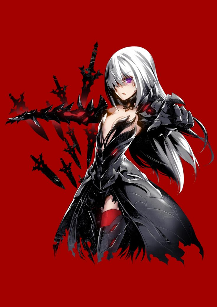 1girl alternate_costume armor armored_dress bare_shoulders black_dress breasts cleavage closers detached_collar dress gauntlets greaves hair_over_one_eye highres long_hair official_art outstretched_arms purple_eyes red_background red_legwear seulbi_lee simple_background small_breasts solo thighhighs white_hair