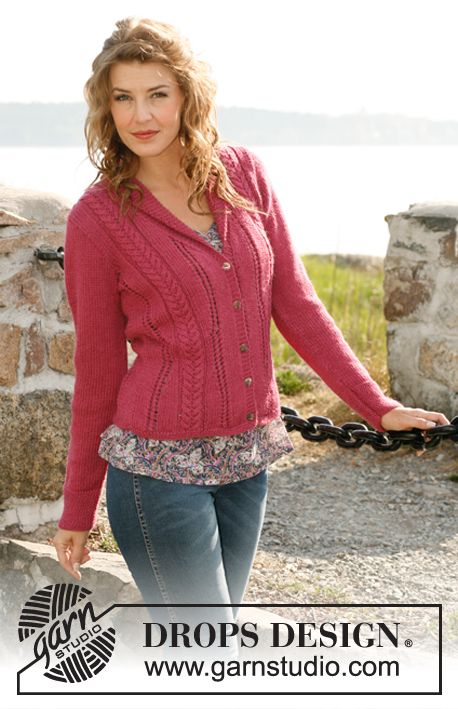 "Knitted DROPS jacket with cables and lace pattern in 2 threads ""Alpaca"". Size: S to XXXL. ~ DROPS Design"