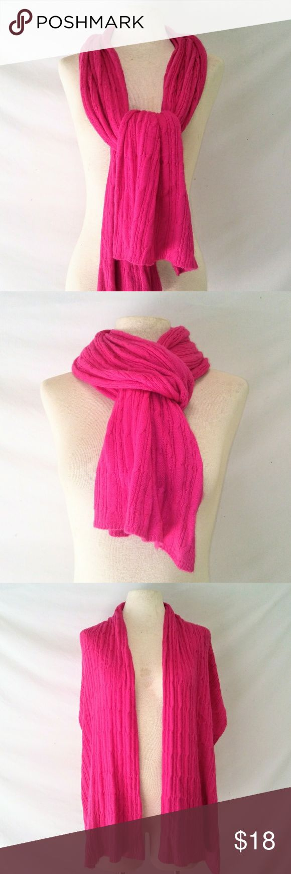#hundredsofscarves: OLD Navy Cable Knit Scarf XL Bright Pink Super Soft Rayon Blend Cable Knit Warm Winter Scarf by Old Navy. In excellent used condition. From a smoke free home. Make an offer! BUNDLE & Automatically Get 20% Off on 2+ Items.  New Feature Alert: Bundle one or more items and I'll make you a customized awesome offer! Just bundle and wait for my offer... Up to 40% off - the bigger the bundle the bigger the savings! *2017 SUGGESTED USER* Old Navy Accessories Scarves & Wraps