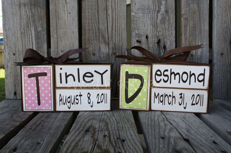 Baby Gift Ideas With Name : Baby boy girl family primitive name blocks wood custom