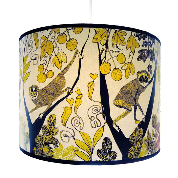 Lush Designs slender Loris shade with monkey type animals in the jungle in yellow and black
