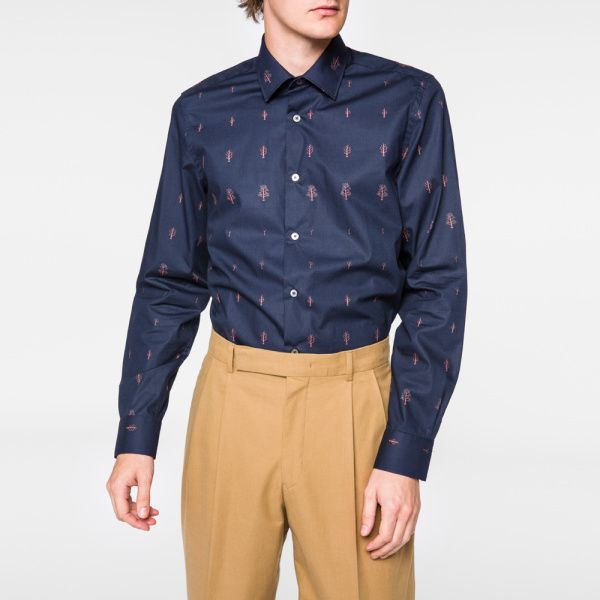 Paul Smith Men's Classic-Fit Navy 'Tree' Print Cotton Shirt