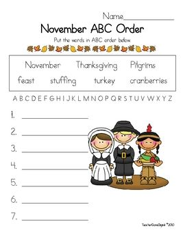 Here is a Thanksgiving ABC order activity for your students....