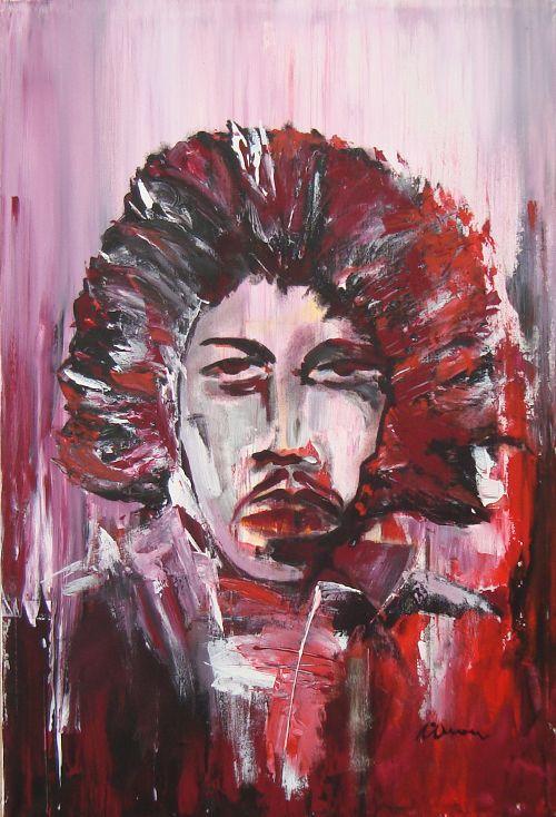 Purple Haze.Jimi Hendrix - Contemporary Art Painting - Florin Coman