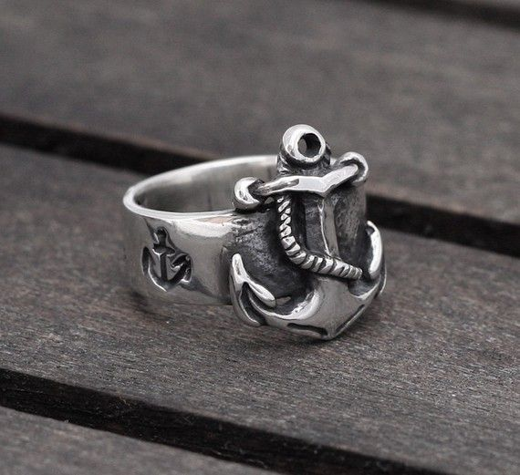 Nautical Anchor ring in Sterling Silver by SilverBeyondOrdinary - adore anything by this guy