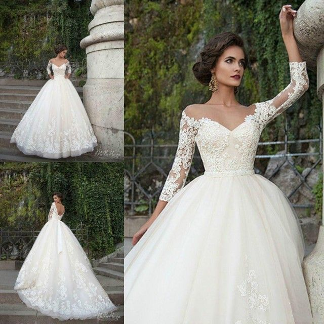 Sexy Milla Nova Wedding Dresses 3/4 Long Sleeve Sheer Illusion Ribbon Beads Chapel Train Church 2016 Custom Lace Applique Bridal Ball Gowns Online with $112.12/Piece on Hjklp88's Store