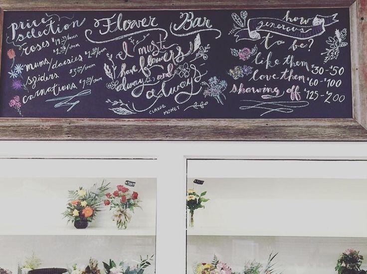 Flower shop chalkboard.
