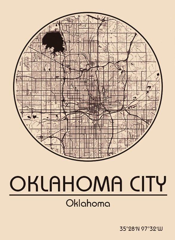 Karte / Map ~ Oklahoma City, Oklahoma - Vereinigte Staaten von Amerika / United States of America / USA