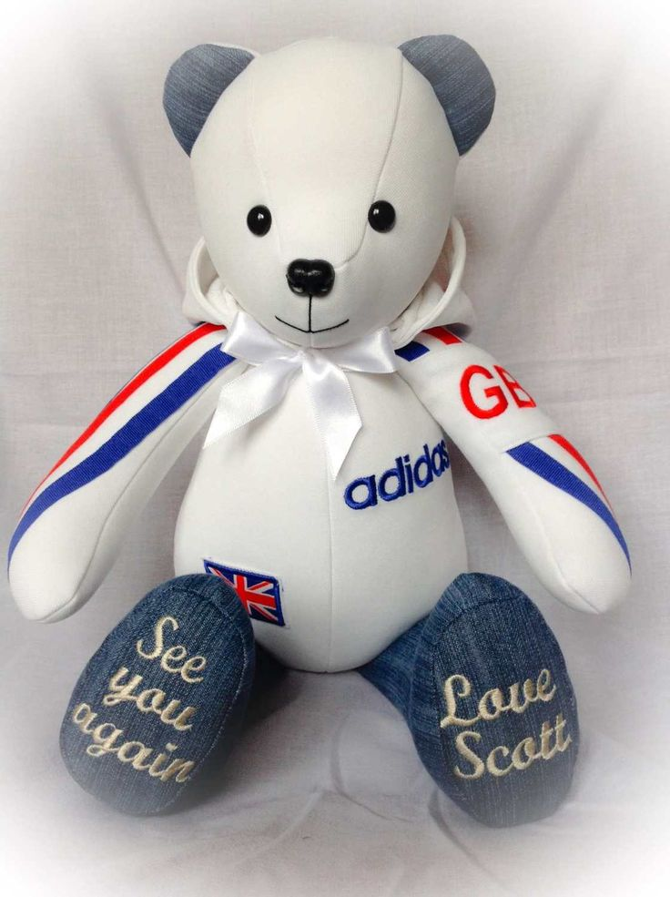 Remembrance Bear made from jeans and a team GB hoody  www.handcraftedmemorybears.co.uk