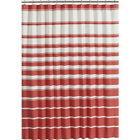 Hampton Stripe Coral Shower Curtain in Curtains  Rings Crate and Barrel Best 25 shower curtains ideas on Pinterest Teal kid