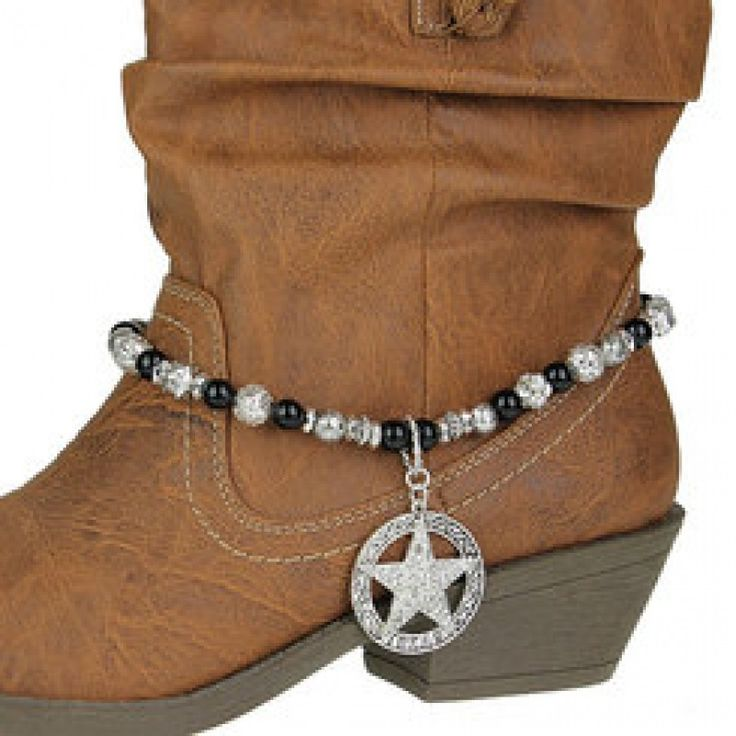 Rhinestone Star and Black Bead Cowboy Boot Charm Bling Boot Anklet