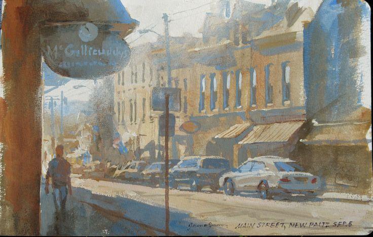 Main Street, New Paltz, NY, casein 5x8 inches.