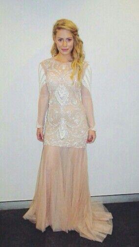 Reigan Derry wears Daniela Stephanie dress on The Xfactor Australia Live Show 4