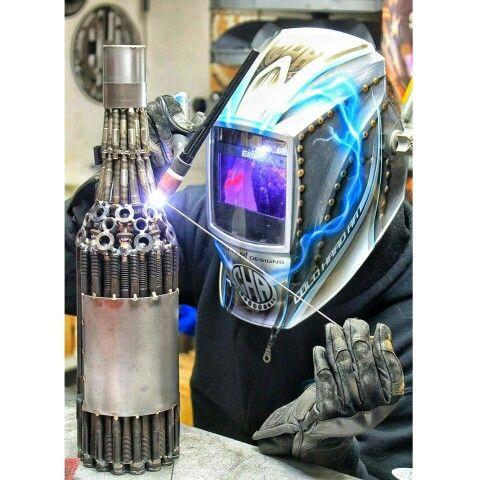 wine bottle metal art welding miller welders arp bolts wineo
