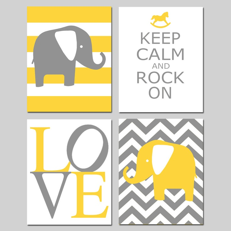 Yellow Gray Nursery Art Quad - Set of Four 11x14 Prints - Chevron Elephant, Keep Calm Rock On, LOVE, Striped Elephant - Choose Your Colors. $75.00, via Etsy.