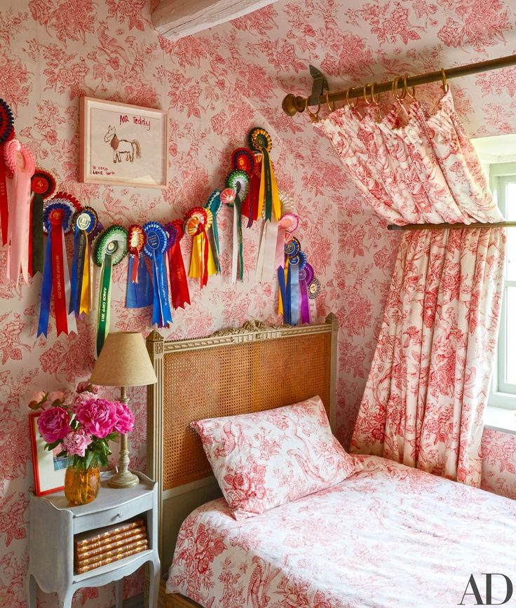 Coco's room features a rosy vintage pattern.