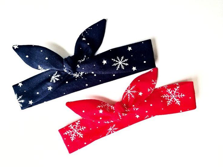 Dwie opaski pin up gwiazdki czerwona granatowa  - MadebyKaza - Opaski dla niemowląt