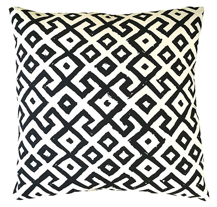 This Bold Pillow Features A Black Geometric Tribal Print On A White Ground.  The Design Is Backed In Solid Ivory Fabric. A Feather And Down Fill Ensures  ...