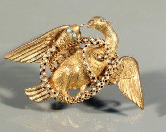 Antieke broche Gold Tone broche vogel en slang broche glazuur plakken vroege Victoriaanse Frans sieraden