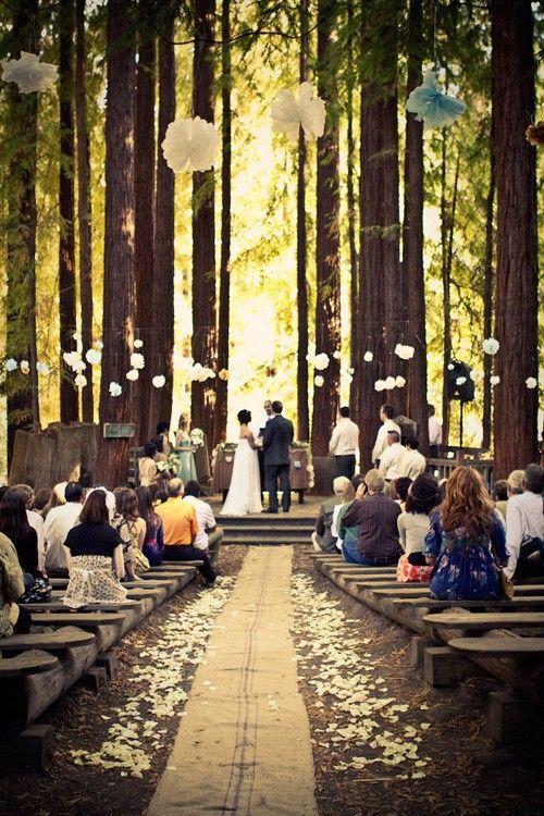 rustic wedding ceremony: Outdoor Wedding, Aisle Runners, Outdoor Ceremony, Forests Wedding, Dreams Wedding, Outside Wedding, Woodsy Wedding, Burlap Runners, Wedding Ceremony