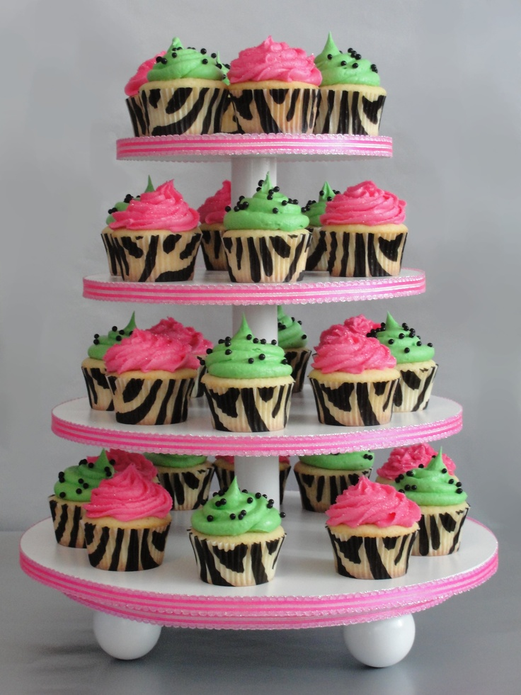 cupcake cake | Andrea's 30th Birthday Zebra Print Cupcakes | Cakes by Kiley