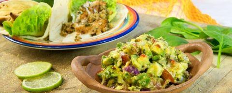 Guacamole med chilikylling og valnøtt-taco