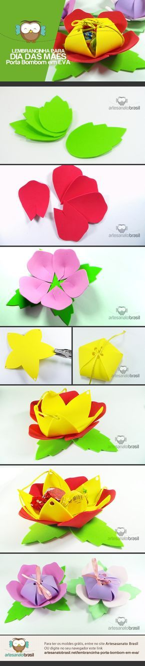 Porta Bombom em EVa para lembrancinha do dia das Mães: http://artesanatobrasil.net/lembrancinha-porta-bombom-em-eva/